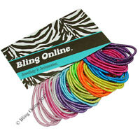 60pc BUNDLE OF SMALL 3cm THIN HAIR ELASTICS BANDS MIXED COLOURS, SPARKLY THREAD.