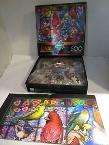 """BUFFALO Stained Glass Songbirds 500 Piece PUZZLE 21.25"""" x 15"""" with Bonus Poster"""