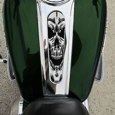 Custom Gas Tank Dash Console Insert for 08-15 Harley Streetglide CHROME SKULL S1