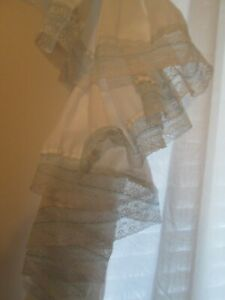 """Dorothy's Original Curtains Ruffled Country 84x96"""" White w 2"""" Blue Lace 2 Panels"""