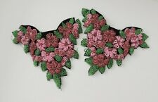 """2 Vintage Beautiful Beaded Floral Dress Ornaments - 6 1/2"""""""
