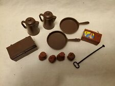 Vintage Marx Johnny West Brown Figure Accessories Cooking Frying Pan Coffee Pot