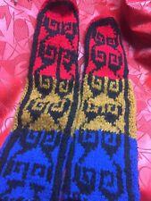 Red Blue Gold SLIPPER SOCKS LEG WARMERS LEATHER SOLE gym dance ski L