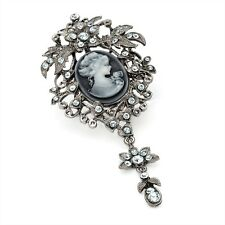 """Lovely Large Cameo Brooch Studded With Diamante Crystals. 4"""" Long"""