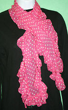 Ralph Lauren Scarf Pink White Polka Dot RUFFLED defect Pure Silk 50 inch