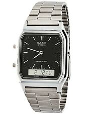 Casio AQ230A-1D Mens Stainless Steel Analog Digital Watch Dual Time Alarm NEW