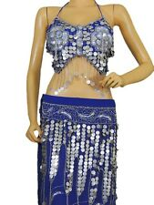 Blue Belly Dancing Costume Dance Dress Clothing Bra Long Skirt Gypsy Attire S