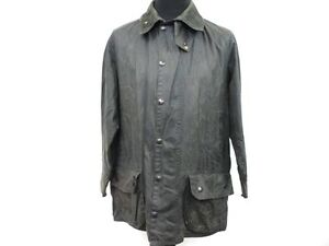 "Barbour Waxed Coat Mens Cotton Hunting Wax Jacket Size L 44"" Navy Grade B W855"