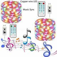 10M 100LED Music Remote Control Fairy Light USB LED String Lamp Xmas Party Decor