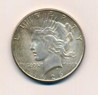 US 1926 S Peace Dollar 90% Silver Coin AU/UNC ++Lustre KM# 150 Tough Date