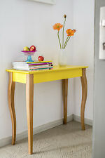 Designer scandinavian style console table large wood yellow modern contemporary