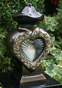 Grablaterne Grablampe Herz Grabschmuck Grablicht Bronze Grableuchte Grabkerze