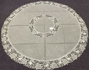 """Polyester 72x72"""" Round Green Organza Fabric Embroidery Tablecloth with 8 Napkins"""
