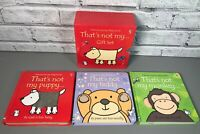 THATS NOT MY Gift Set Usborne Touchy-Feely 3 Books Teddy Monkey Puppy Boxed