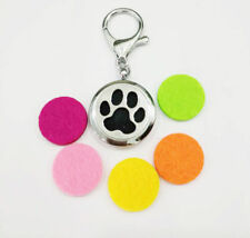 Dog Paw Aromatherapy Essential Oil Diffuser Locket key chain keyring 5pcs pads