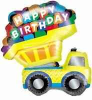 "XL 33"" Dump Truck Happy Birthday Super Shape Mylar Balloon Party Decoration"