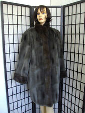 !Excellent Green Cloth & Sheared Muskrat Fur Coat Jacket Women Woman Sz18-20 3Xl