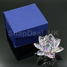 LARGE  MULTI CRYSTAL LOTUS FLOWER ORNAMENT WITH GIFT BOX  CRYSTOCRAFT HOME DEC_