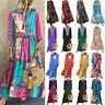 Women's Boho Long Sleeve Loose Maxi Dress Baggy Kaftan Casual Sundress Plus Size