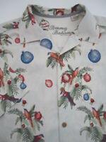 Mens Medium Tommy Bahama Seasons Greetings Christmas ornaments hawaiian shirt