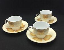 Casati China Gold Flower Teacups & Saucers (set of 3)