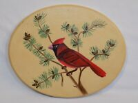 Red Cardinal Bird on a Tree Branch Art Painting Green Nature Wood Wall Hanging