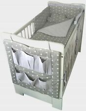White Baby Cot with mattress 'PIKOLINO' with Cotton Bedding Set