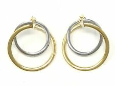 """Italian 14k Two Tone Gold Double Round Spiral Earrings 1"""" 2.2 grams"""