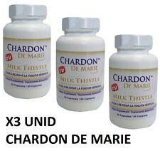 3 FRASCOS DE CHARDON DE MARIE 60 CAP. higado graso antioxidante chardon de marie
