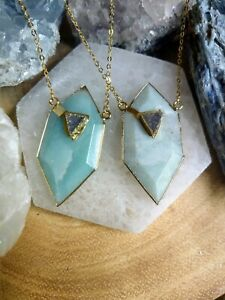 Amazonite hexagon  with druzy agate pendant natural stone crystal healing
