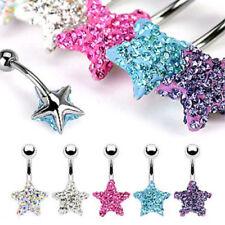 Star Gem Belly Ring Made w/ Swarovski Crystal AB,Clear,Pink,Aqua,Tanzanite Navel