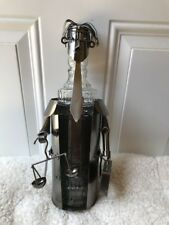 Wine Bottle Caddy Holder Metal Sculpture Lawyer Scale Suitcase Collectible Item