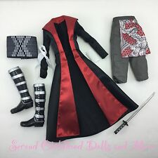 BARBIE JAPANESE SAMURAI COSTUME Jacket Pants Boots Katana Sword Ken Doll Clothes
