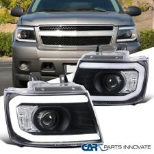 For 07-13 Avalanche Suburban Tahoe LED DRL Matte Black Projector Headlight Lamps