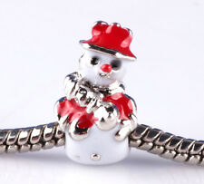2pcs Painted Christmas snowman big hole Beads Fit European Charm Bracelet A875