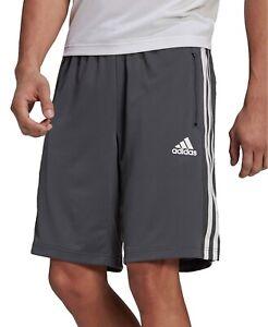 Adidas Designed 2 Move 3 Stripe Men's Athletic Performance Shorts Grey Training