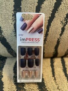 Impress Press On Nails - Matte Navy Blue with accent nails