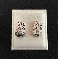 Real Silver Cubic Zirconia Stud Earrings - NEW RRP £20