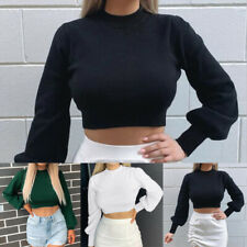 Womens Crop Tops Womens Casual Knitted Turtleneck Plain Cropped Jumper