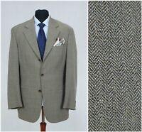 Mens Herringbone Blazer Sport Jacket Wool Grey UNGARO SIZE Large, UK 40 Long