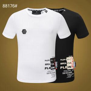 PHILIPP PLEIN Black/White Skull Beading Men Casual T-shirt #P88176M-3XL