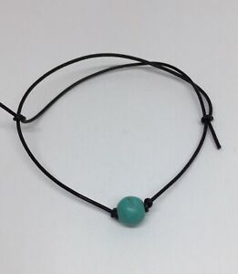 turquoise gemstone leather bracelet anklet one size
