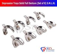 Porte-Empreintes Dentaires Complet Denture Solide (Set 8) S-M-L- XL Haut Bas New