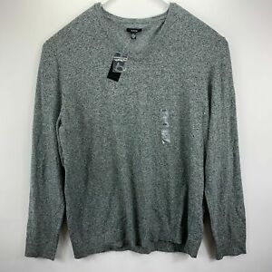 Alfani Mens Classic Fit Knit V-Neck Pullover Sweater Gray 2XL