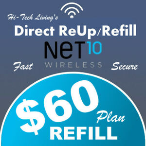 $60 NET10  FAST REFILL ELECTRONIC REFILL DIRECT > 25yr TRUSTED USA DEALER <