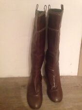 Clarks Women's Brown Leather Knee High Boots With Stitch Detail UK 6