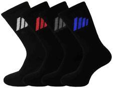 6 Pairs Mens Plain Black Sports Socks, Stripe Logo, Comfort Toe Seam, Size 6-11