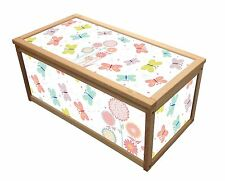 FLOWER BUTTERFLY WOODEN TOY BOX STORAGE UNIT FOR CHILDREN KIDS TOYS CHEST BOXES