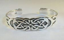 "925 sterling silver cuff bracelet Celtic knot design 5/8"" wide"