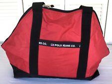 Vintage Polo Jeans Co Ralph Lauren Messenger Bag Red w Blue inside Tote CarryAll